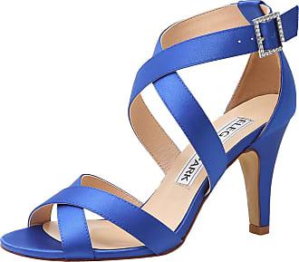Elegantpark HP1705 Wedding Sandals for Women Strappy Sandals High Heels Peep Toe Buckle Satin Wedding Bridal Shoes Evening Party Shoes Blue UK 9(EU 42)