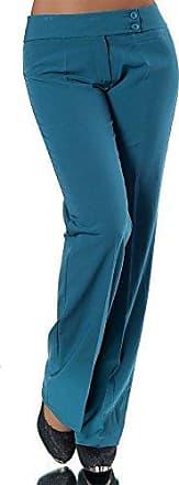 Damen Business Hose m Gürtel Hüfthose Stoffhose Elegant Classic Stretch Schwarz