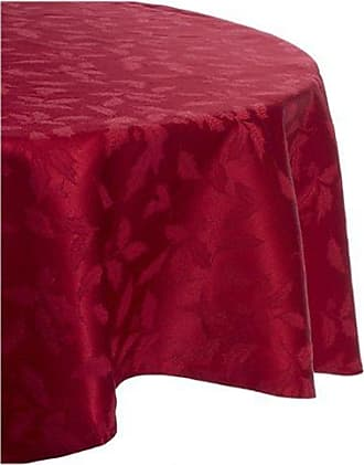 Lenox Holly Damask Tablecloth, 70-Inch Round, Red