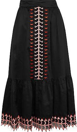 Temperley London Temperley London Woman Agnes Embroidered Tulle-trimmed Cotton Midi Skirt Black Size 14