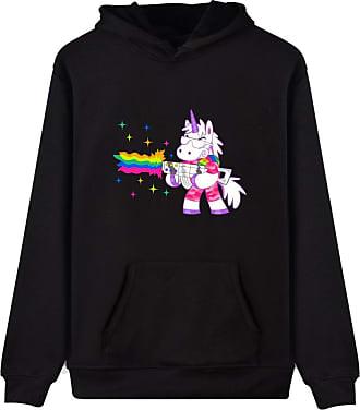 EUDOLAH Womens Hoodie Funny Cartoon Unicorn Print Sweatshirt Top (Black Gun XL)