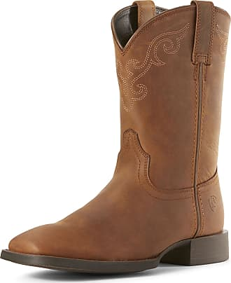Ariat Womens Roper Wide Square Toe Western Boots in Distressed Brown Leather, B Medium Width, Size 5.5, by Ariat