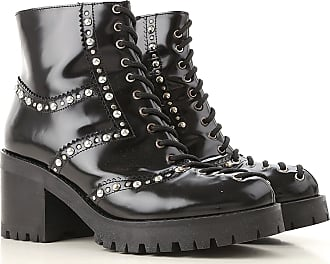 Alexander McQueen Boots for Women, Booties On Sale in Outlet, Black, Leather, 2017, 6 7