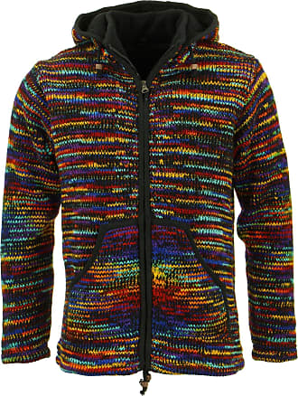 Loud Elephant Chunky Wool Knit Hooded Cardigan Jacket - Black & Rainbow Space Dye (X-Large)