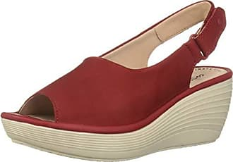 dc587017ca8 Clarks Womens Reedly Shaina Wedge Sandal red Nubuck 070 W US