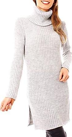 5bfbc211c9 Easy Young Fashion Damen Winter Strick Rollkragen Pullover Lang Minikleid  Longpullover Winterpullover Geschlitzt Einfarbig One Size