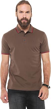 6d8e70f301c41 Ellus Camisa Polo Ellus Reta Frisos Classic Marrom
