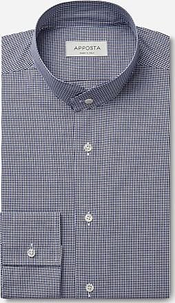Apposta Camicia quadri piccoli blu 100% puro cotone fil-a-fil, collo stile coreano smussato