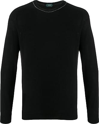 Zanone Suéter decote careca de tricô - Preto