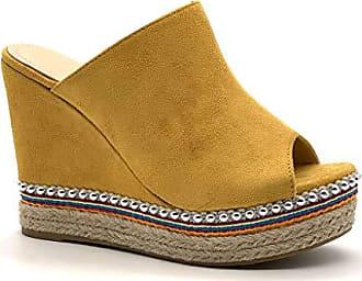 6b6d45e8c5a25f Angkorly Damen Schuhe Espadrilles Sandalen - Vintage Retro - Bequeme -  Plateauschuhe - mit Stroh