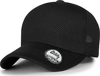 Ililily Solid Color Air Mesh Curved XL Baseball Cap Strapback Big Trucker Hat, Black