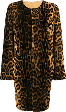 Yves Salomon leopard print shearling coat - Brown