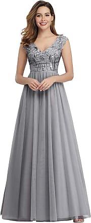 Ever-pretty Womens V Neck with Applique A Line Floor Length Empire Waist Tulle Long Ball Evening Dresses Grey 18UK
