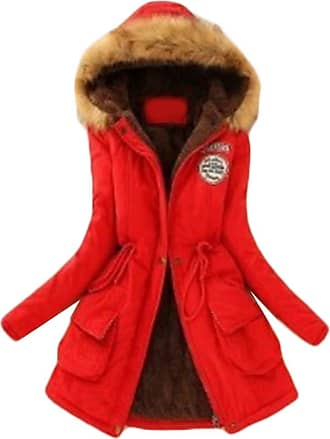 Inlefen Womens Winter Long Sleeve Solid Color Slim fit Coat Retro Warm Zip Hooded Jacket with Pocket red 3XL