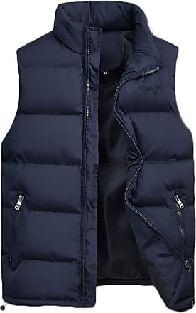 ZongSen Mens Lightweight Gilet Waterproof Design with Zip Two Pockets Quilted Body Warmer Vest Blue 6XL