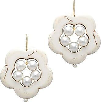 Tinna Jewelry Brinco Dourado Flor Vazada De Howlita