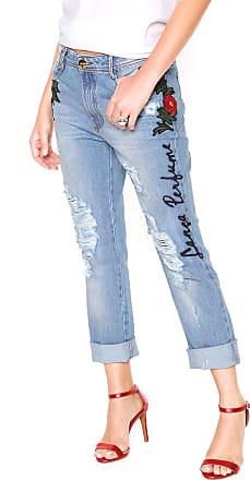 Lança Perfume Calça Jeans Lança Perfume Boyfriend Bordada Azul