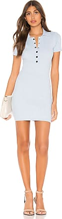 Superdown Leyla Ribbed Polo Dress in Baby Blue