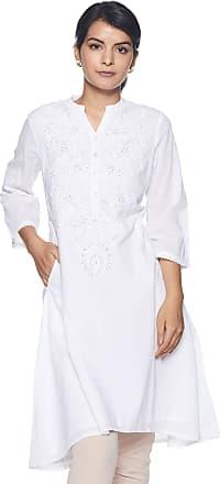 Biba Womens Cotton a-line Kurta (CHIKANKA14649_ White_ L (36))