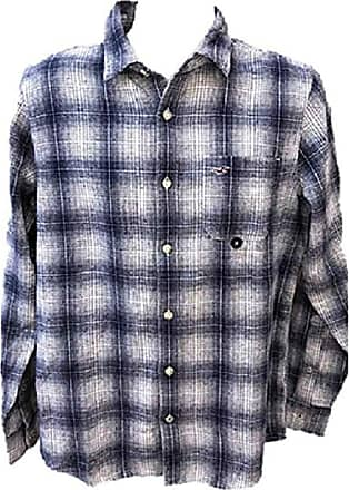 Hollister Flannel Check Shirt White Navy Shirt Men Collar Size Small/S