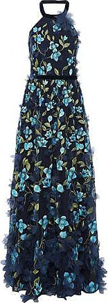 Marchesa Marchesa Notte Woman Floral-appliquéd Embroidered Tulle Halterneck Gown Navy Size 4