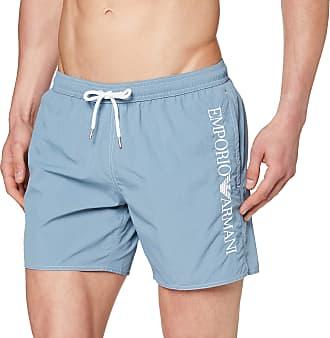 Emporio Armani Mens Boxer Beachwear Embroidery Logo Swim Trunks, Blue (Artico 02631), X-Small (Size: 46)