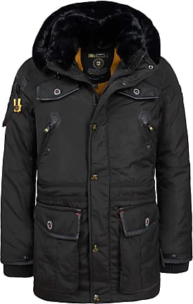 Geographical Norway Mens Winter Jacket Parka Acore Lined Hood - Black, XL