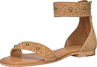 Frye Womens Carson Deco Zip Flat Sandal, Sand, 7.5 M US