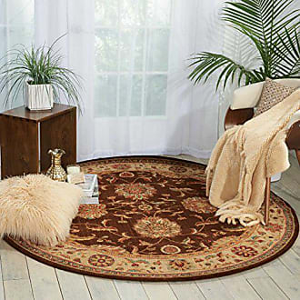 Nourison Living Treasures (LI04) Brown Round Area Rug, 7-Feet 10-Inches by 7-Feet 10-Inches (710 x 710)