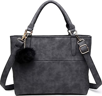 Quirk PomPom Suede Shoulder Bag Black