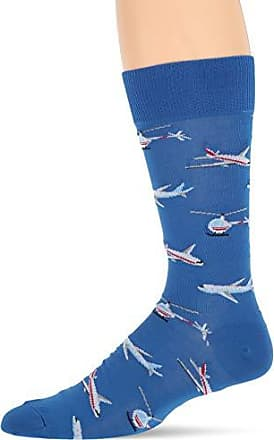 Hot Sox Mens Conversation Starter Novelty Casual Crew Socks, Planes and Helicopters (Blue), Shoe Size: 6-12