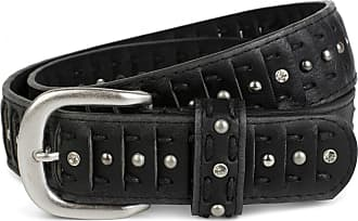 styleBREAKER slotted studded belt in the cut style with studs, rhinestones and lace, vintage, can be shortened, women 03010079, size:85cm, color:Black