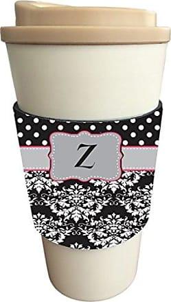 Rikki Knight InitialZ Grey Pink Black Damask Dots Design Latte Beverage Insulator, Black
