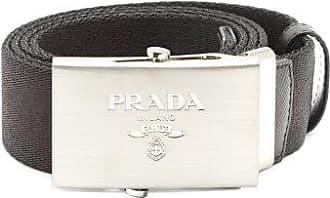 Prada Leather-trimmed Canvas Belt - Mens - Black