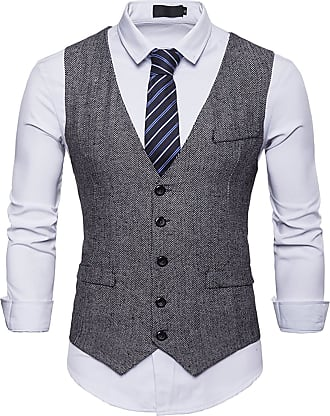 Whatlees Mens Tweed Checked Vest - Slim with Double-Breasted Button Fly Gray 02010001XGray+S