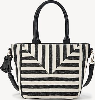 Sole Society Womens Ginny Satchel Small In Color: Black White Stripe Bag Vegan Leather Canvas From Sole Society