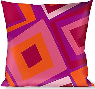 Buckle Down Pillow Decorative Throw Skewed Squares Stacked Purple Orange Pinks
