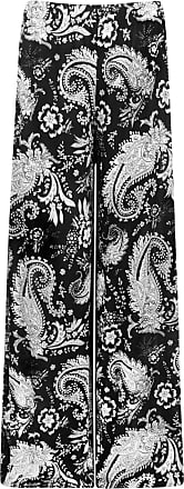 WearAll Womens Monochrome Paisley Print Wide Leg Palazzo Pants Flared Trousers - Black - 20-22