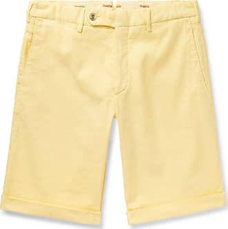 Zanella Chase Stretch-linen And Cotton-blend Twill Shorts - Yellow