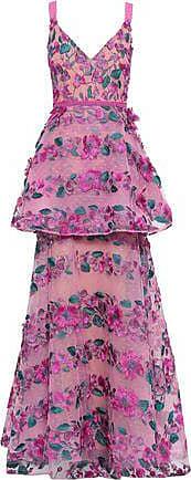 Marchesa Marchesa Notte Woman Layered Embroidered Point Desprit Gown Magenta Size 12