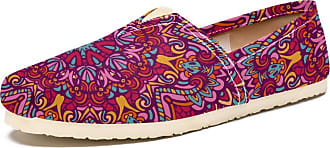 Tizorax Slip on Loafer Shoes for Women Mandala Floral Pattern Comfortable Casual Canvas Flat Boat Shoe