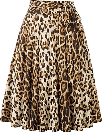 Belle Poque Vintage 1950s Elegant Solid Color High Waist Plain Tea Skirts for Womens Leopard(946-2) X-Large
