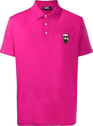 Karl Lagerfeld Camisa polo com mangas curtas e patch de logo - Rosa
