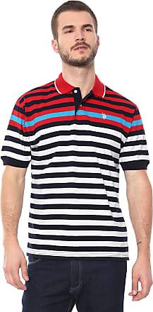 U.S.Polo Association Camisa Polo U.S. Polo Reta Listrada Branca/Azul-marinho
