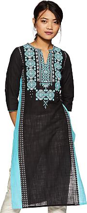 Aurelia Womens Cotton Straight Kurta (19FEA10500-500217_ Black_ Xx-Large)