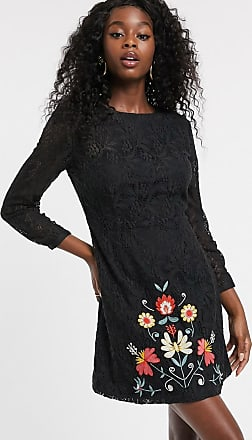 Urban Bliss orla lace dress with embroidery-Black