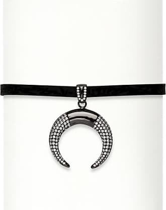 PalmBeach Jewelry 1.50 TCW Cubic Zirconia Black Ruthenium over Sterling Silver Crescent Moon Black Suede Choker Necklace 13-14.5
