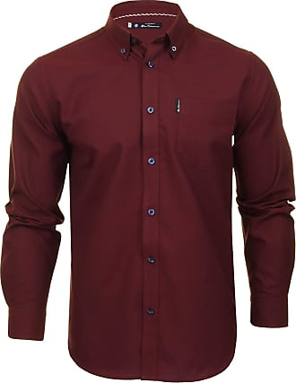 Ben Sherman Mens Oxford Shirt Long Sleeved (Bordeaux) S