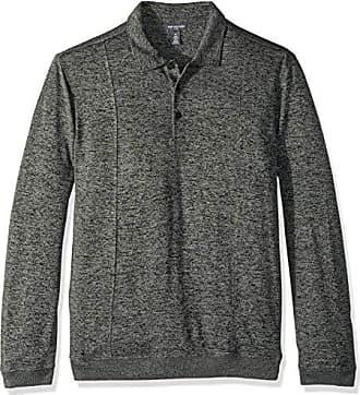 Van Heusen Mens Long Sleeve Flex Sweater Fleece Melange Polo, Grey Phantom, XX-Large