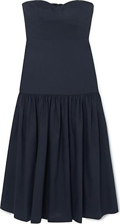 Veronica Beard Fiore Strapless Linen-blend Midi Dress - Navy